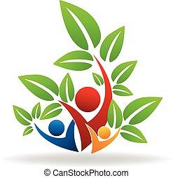 Logo Baum swooshes Teamwork Menschen.