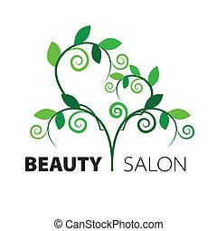 Logo Baumherz aus grünen Blättern im Schönheitssalon