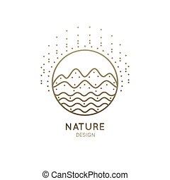 logo, berg, fluß, sonnig