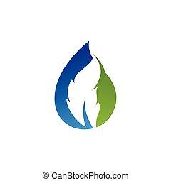 logo, blatt, tropfen, vektor, wasser