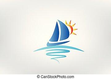 Logo Bootswellen und Sonnenvektor.