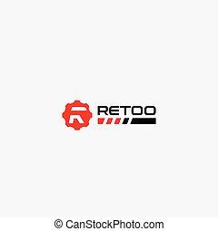 logo, brief, abstrakt, retoo, r