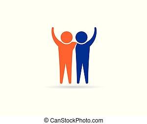 logo, connection., friends, leute, design, partner, glücklich, business.