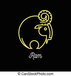 Logo der abstrakten gelben Linie Ram Icon auf schwarzem Hintergrund