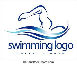 logo, design, schwimmender