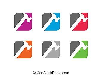 logo, dienstleistungen, symbol, reparatur, schablone, heimwerker, holzarbeit, ikone, design