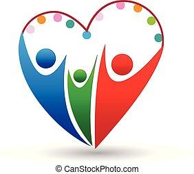 Logo-Familie in einem Herz-Ikonen-Vektor.