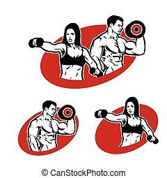 logo, frau, mann, fitness