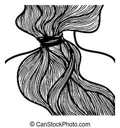 logo, gebraucht, schultern, bild, kunst, haar, silhouette, zurück, plakat, linie, gezogen, vektor, abbildung, ink., style., oder, sein, salon, ansicht., ponytail., m�dchen, buechse