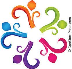 logo, gemeinschaftsarbeit, menschheit