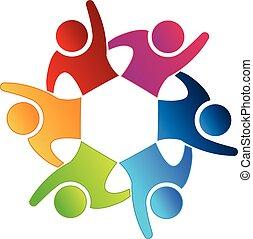 Logo glückliche Menschen Teamwork Icon.