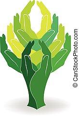 Logo grüne Baumhände.