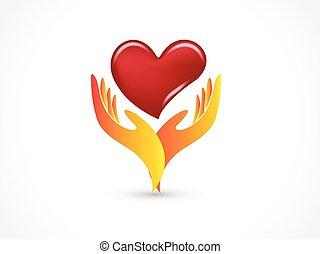 logo, hände, besitz, liebe, vektor, herz