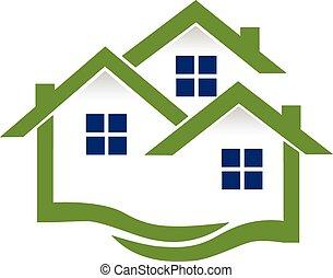 Logo Häuser und Wellen Immobilien.