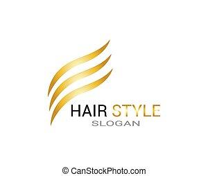 logo, haar- art, schablone