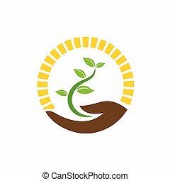 logo, hand, pflanze, besitz