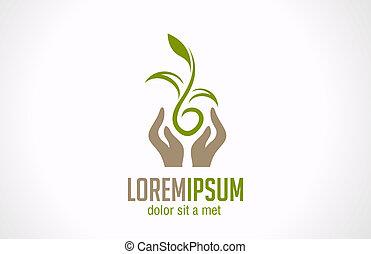 Logo Hands halten Pflanzen abstrakte Ikone. Grünes Konzept.