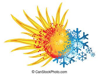 logo, heiß, kalte