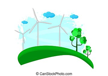 logo, hintergrund., weißes, energie, eco, freigestellt