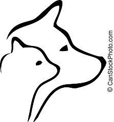 logo, köpfe, hund, katz