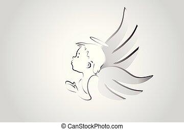 Logo, kleiner Engel, der betet.