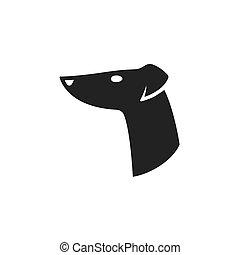 logo, kopf, windhund