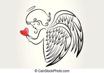 logo, liebe, ikone, herz, beten, weihnachtsengel