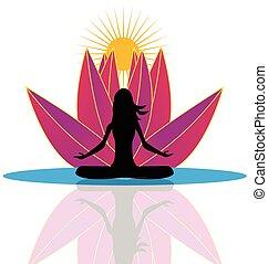 logo, lotusblüte, joga