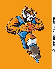 logo, maskottchen, basketball, tiger