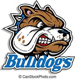 logo, mittel, bulldogge