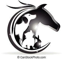 Logo Pferd, Hund, Katze und Kaninchen.