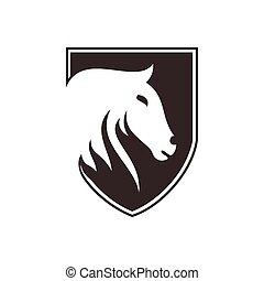 logo, pferd, schutzschirm, maskottchen, design
