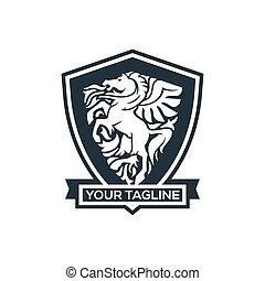 logo, schutzschirm, emblem, pferd