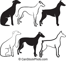 logo, silhouetten, vektor, hunden