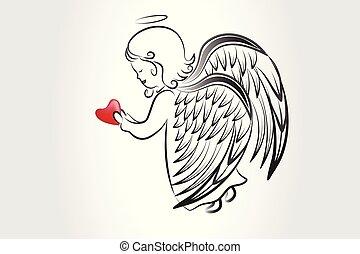 logo, skizze, liebe, ikone, herz, beten, vektor, bild, kunstwerk, engelchen