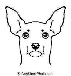 logo., spielzeug, terrier, hundekopf, emblem.
