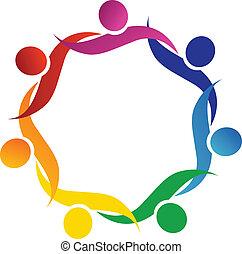 logo, symbol, umarmung, gemeinschaftsarbeit