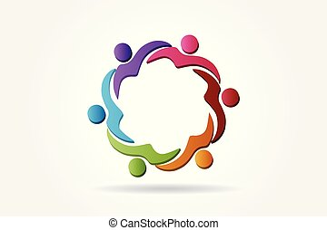 Logo-Team hilft Leuten, Vektor.