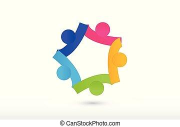 Logo-Team mit Handarbeit und Hilfe.