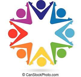 Logo-Teamarbeit bunte Leute