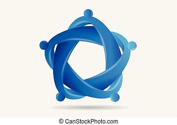 Logo Teamwork Business Einheit Menschen in einer Umarmung.