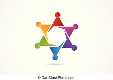 Logo Teamwork Freundschaft in einer Umarmung.