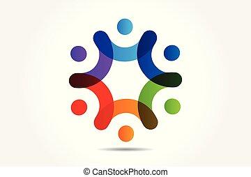 Logo-Teamwork-Leute, die Hand-Vektor halten.