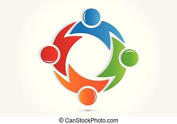 Logo Teamwork Menschen in einem Umarmung Icon Vektor.
