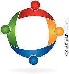 Logo Teamwork Menschen in einer Umarmung.
