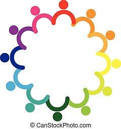 Logo-Teamwork mit Händen.