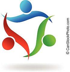 Logo-Teamwork umarmen Leute.