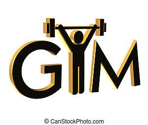 logo, turnhalle, fitness, 3d