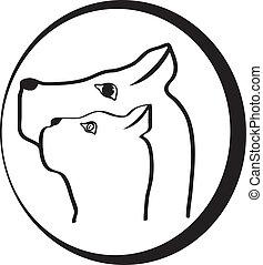 logo, vektor, köpfe, hund, katz