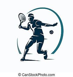 logo, vektor, schablone, tennis, oder, silhouette, emblem, stilisiert, spieler